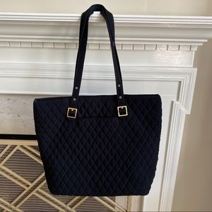 Vera Bradley Microfiber Black Gold Tote Bag Large